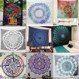 Wholesale Peacock Wall Hangings - Size 130cmx150cm Indian Mandala Tapestry Hippie Wall Hanging Elephant Peacock Bohemian Bedspread Beach Towel blue green square beach towels