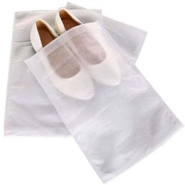 Wholesale Reusable Drawstring Bags - Non-woven Fabric Shoes Drawstring Bag Reusable White 20*33cm 20*38cm 24*38cm 25*33cm 38*28cm Dustproof Shoes Cover Storage Bag With Rope NEW