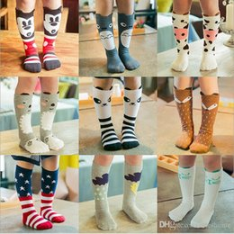 Wholesale High Sock Wholesale - INS Baby Socks Fox Knee High Socks Mickey Doraemon Stockings Toddler Cotton Cartoon Hosiery Children Soft Totoro Animal Printed Socks H571