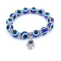 Wholesale Blue Elastic Bracelet - Fashion 8mm Resin Beads Bracelet Vintage Bohemian Blue Eyes Fatima Hand Hamsa Stretch Elastic Mens Bracelet