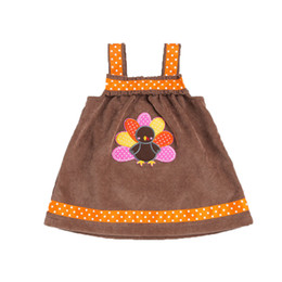 Wholesale Dresses Turkey Wholesalers - Thanksgiving Girls Dress Sleeveless Corduroy Baby Girls Dress Turkey Printed Girls Outfit Brown Orange Kids Dresses