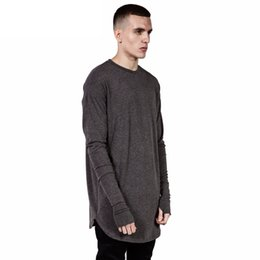 Wholesale Thumbs Cuff - Wholesale- New Fashion Thumb Hole Cuffs Long Sleeve Tyga Swag Style Mens,Side Split Hip Hop Top T Shirt,Crew Cotton T-shirt Men Clothes