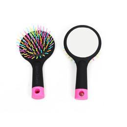 Wholesale Hair Extensions Loop Brush - Rainbow comb brush mirror Air massage Curly hair extensions comb brush Loop brushes plastic rainbow comb mirror curly hair air health marle