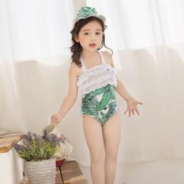 Wholesale Children S Caps - New Korean Princess Girls Swimwear Children Swimming Banana Leaf Flowers Floral One-Pieces + Swim Caps 2piece Set Girl's Swim Sets A6045