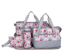 Wholesale diaper bag pieces - Wholesale-Hot 5 Pieces Multifunctional Fasion Nappy Maternity Diaper Bags Brand Baby Bags For Mom Striped Floral Leopard Mummy Mother Bag