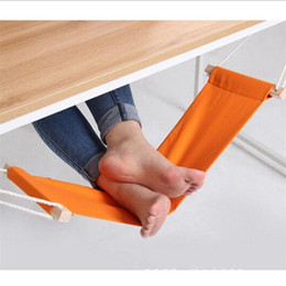Wholesale Wholesale Hanging Chair - Wholesale- Portable Office Foot Hammock Mini Feet Rest Stand Desk Footrest Hamac Hangmat Study Table Hang Leisure Hanging Chair Orange