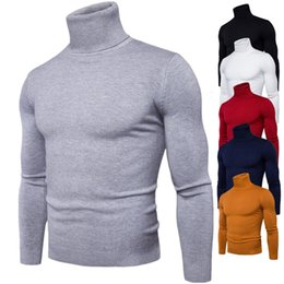 Wholesale High Collar Winter Sweater - Wholesale High Collar Solid Men Sweaters Cotton Knitting Autumn And Winter Close Sweaters 6 Colors Plus Men Clothes