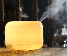 Wholesale air source - Ultrasonic 500ml Warm White Lights Aroma Diffuser Perfume Humidifier Air Purifiers Atomizer with 4 Timer Settings for Home&Office