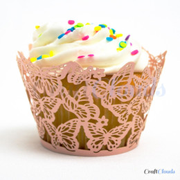 Wholesale Wholesale Laser Cut Cupcake Wrappers - Wholesale- ON sale free shipping 12pcs Pink Butterfly Laser cut Cupcake wrappers, party baby shower Cup cake wrap