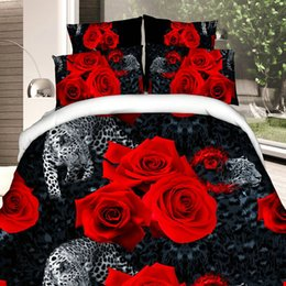 Wholesale Romantic Bedspreads - Wholesale-4 pcs Red Rose Bedding Set Romantic Duvet Cover Bed Linen Double Quilt Set Comforter Bedsheet Wedding Bedspread King Size