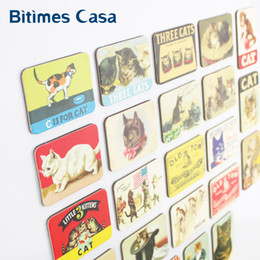 Wholesale Pc Refrigerator - stickers white home decoration 24 PCS cartoon cat refrigerator fridge magnets set animal cat designs magnetic stickers free shipping