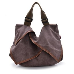 Wholesale Brown Canvas Bags For Women - Wholesale- Ruffles canvas women bags tote brown burgundy Crossbody big wide shoulder bags big school bag for girls bolsa feminina XA427A