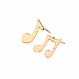 Wholesale Music Note Stud - Wholesale Cute Music Notes 2 Earring Two Faced Studs Brass Brincos Jewelry Silver Gold Rose Gold Plated Earings For Women EFE024