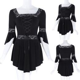 Wholesale Cheap Gothic Tops - 2017 Cheap Women's Victorian Gothic 3 4 Long Sleeve Lace T-Shirt Magical Renaissance Square Neck Irregular Hem Cotton Tops BP000224