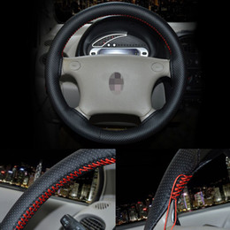 Wholesale steering wheel cover leather thread - Universal Faux Leather Car Auto Vehicle Steering Wheel Cover With Needles and Thread For Outer Diameter 37-38cm Steering Wheel