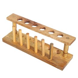 Wholesale Tube Support - Wooden Test Tube Rack 6 Holes and 6 Pins Holder Support Burette Stand Laboratory Test tube Stand Shelf Lab School Supply
