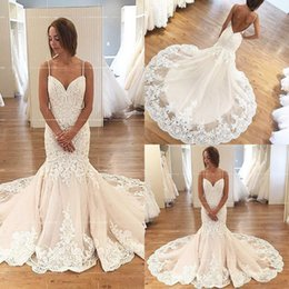 Wholesale Bridal Robes China - Sexy Mermaid Wedding Dresses Lace Backless Champagne Robe de mariage Country Western Bridal Gowns 2016 Made In China