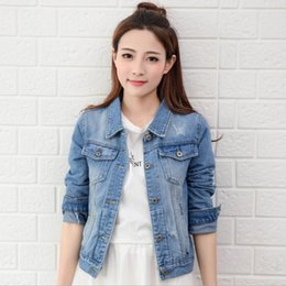Wholesale Top Breast Women - Wholesale New Fashion Spring Autumn Vintage Denim Jackets Women's Jeans Coat Ladies Jean Tops For Girls Outwear