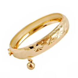 Wholesale little girls bracelets - Europe and America Hotsale Children Bangle 18K Yellow Gold Plated Bell Bracelet Bangle for Children Little Girls Best Birthday Gift for Kids