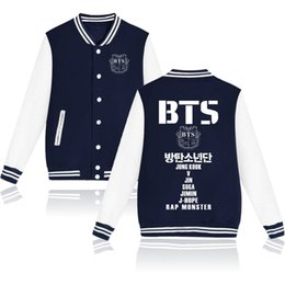 Wholesale Uniform Buttons - BTS Kpop Bangtan Boys Baseball Uniform Jacket Coat Women Harajuku Sweatshirts Winter Fashion Hip Hop Album Pink Hoodie Outwear