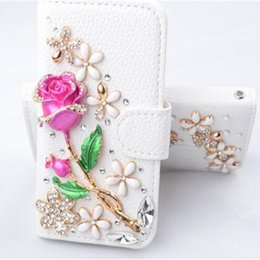 Wholesale Handmade Bling Phone Cases - For iPhone 5 5S SE 6 6S Bling case 6Plus Luxury Fashion Handmade Crystal Leather Flip 3D Rhinestone Diamond Stand Wallet Phone Cases