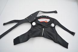 Wholesale Black Leather Halloween Costumes - Adjustable Belt Tokyo Ghoul Cosplay Kaneki Ken Zipper Black Cosplay Masks PU Leather Mask