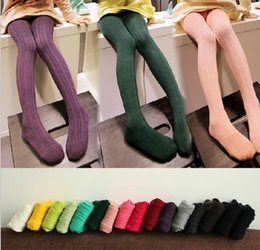 Wholesale Chinese Kids Wear - New Fashion Knitting Girls Footies leggings Autumn Winter Outfit Girls Render Pants Children Clothing Kids Female Leggings Warm Wear B880