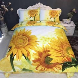 Wholesale Sunflower Prints - Hot sale 2017 Home textile bedding-set 3D three-dimensional printing 4 pieces cotton yellow sunflower sunflower garden wedding bed