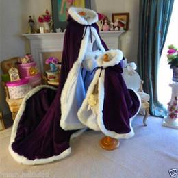 Wholesale Ivory Fur Shawl Girl - Bridal Winter Wedding Cloak Cape Hooded with Fur Trim Long Flower Girl Cloak baby childs big shawl wrap