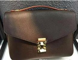 Wholesale Leather Crossbody Handbags - 2017 Free shipping high quality genuine leather women's handbag pochette Metis shoulder bags crossbody bags messenger bag M40780