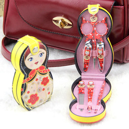 Wholesale Groom Dolls - 6pcs set Manicure & Pedicure Set Cute Nail Clippers Scissors Grooming Tools Ear Pick Tweezers Russian Doll Nail Care Tool Set ZA1646
