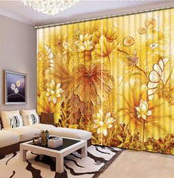 Wholesale Curtains Installation - Custom any size Top Classic 3D European Style yellow louts custom curtain fashion decor home decoration for bedroom