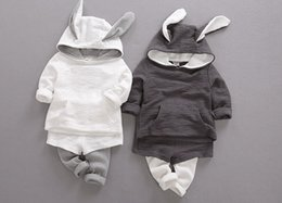 Wholesale Baby Girl Sweater Months - 2017 latest 1-2-3 year old baby suit autumn boys and girls long sleeve hooded sweater coat pants two sets of baby clothes