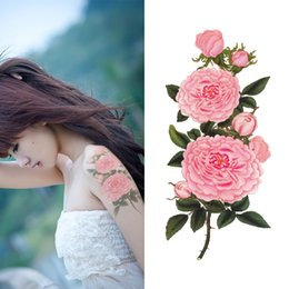 Wholesale girl tattoo flowers - Wholesale- Temporary Tattoo Pink Peony Flowers Waterproof Sexy Body Art for Girls Women Fake Arm Tattoo Stickers