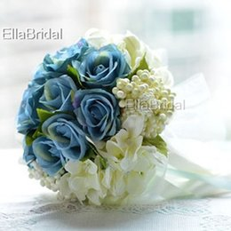 Wholesale Cream Bridal Flowers - Elegant Fabric Cream Ivory Blue Rose Bridal Bouquet Handflower Bridal Throw Flower Bridesmaid Bouquet Decoration Wedding Flower with Ribbon