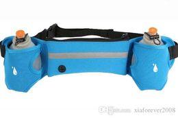 Wholesale Blue Hot Water Bottle - Hot Outdoor Sports Cycling Running bag Jogging Walking Waist Belt Bag Pack Pot Holder Stander With 2 Water Bottles