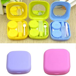 Wholesale Contact Lens Cases Mirrors - Portable Cute Pocket Mini Contact Lens Case Travel Kit Mirror Container 5Colors