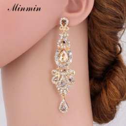 Wholesale Big Crystal Earrings For Bridal - Minmin Champagne Crystal Long Dangle Earrings Luxury Bridal Wedding Big Chandelier Pendant Earrings Jewelry for Women EH162