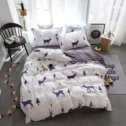 Wholesale Yellow Striped Bedding - Stylish Simplicity Christmas Elk Striped Cartoon 3 4pcs Bedding Sets Bedlinen Contain Duvet Cover Bed Sheet Pillowcase
