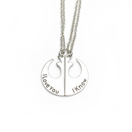 Wholesale I Love Romantic - Simple Style Silver Color Romantic I Love You & I Know Lovers Pendant Necklace 2 in 1 Set by Hcish Jewelry HC0003