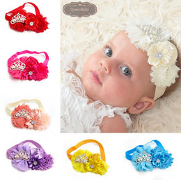 Wholesale Bling Bow Hair Bands - New Europe Style 12 Colors Baby Headband Bling Bling Bow Floral Hair Accessories Princess Handcraft Rose Crown Head Band Hairbands