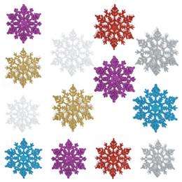 Wholesale Plastic Blue Snowflake Ornament - Glitter Christmas Tree Ornament Decorations Weight 68g Diameter 10 cm Snowflakes Colorful Plastic Snowflake Pendant 12pcs Bag Free Shipping