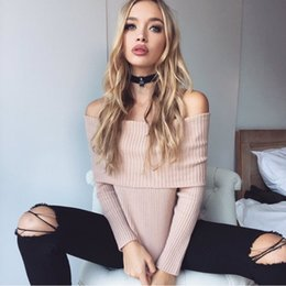 Wholesale Jumper Shorts For Women - Wholesale-Lvimnw Christmas Off Shoulder Sweater for Women Sexy Slash neck Knitted Pullover and Jumper Autumn Winter Short Pull Femme