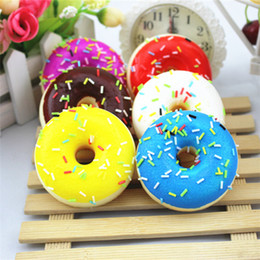 Wholesale Cute Lovely Photos - DHL Free Colorful Cute Lovely 7cm Jumbo Donut Charm Kawaii Simulation Toy For Decoration Taking Photos Children Education