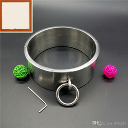Wholesale Stainless Steel Ankle Cuffs - 2017 New BDSM Sm Sex Toys Luxury Stainless Steel Heavy Duty Collar   Thick Iron Locking Collar Mirror Polished