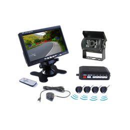 Wholesale wireless parking camera sensor - Car Truck Wireless Rearview Camera 4 Sensors Parking Assistance System PZ608W 7 Inch 16:9 Digital Panel Camera Pixal 648*488 Free DHL