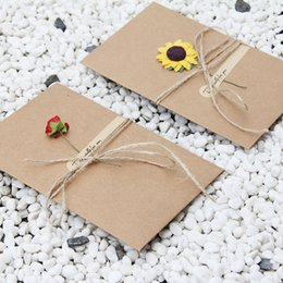 Wholesale Envelopes For Greeting Cards - DIY Retro Envelope Kraft Paper Flowers Handmade Postcard Blessings Combination Greeting Cards for Valentine Birthday Anniversary with Rose