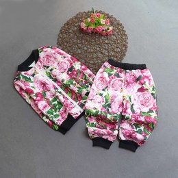 Wholesale Tracksuits For Baby Girls - wholesale 2017 kids girls flower clothes baby 2 pieces clothing toddler spring autumn sets children jacket pants tracksuit for 100-160