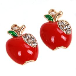 Wholesale Gold Apple Pendant - Wholesale-2016 Fashion Pendants DIY Necklace Plated Red Apple Shaped Pandent Jewelry Making With Rhinestone 20pcs lot 148146