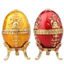 Decorações vintage de páscoa on-line-Ovo de páscoa faberge jóias trinket caixa de decoração Do Vintage caixa de ovo de metal artesanato de aniversário / presente de Natal colecionáveis